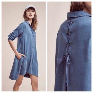 Cloth & Stone   Blue Farryn Laced-Back Shirtdress